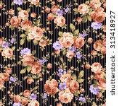 rose flower pattern  | Shutterstock .eps vector #313418927