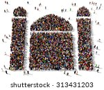 Large Group Of People Seen Fro...