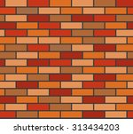 wall of red and orange bricks.... | Shutterstock .eps vector #313434203