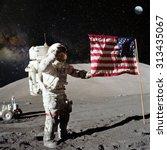 astronaut on lunar  moon ... | Shutterstock . vector #313435067
