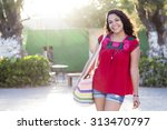 young latin female traveler... | Shutterstock . vector #313470797