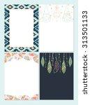 trendy hipster invitation set | Shutterstock .eps vector #313501133