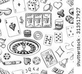 seamless casino hand drawn... | Shutterstock .eps vector #313517927