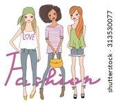 fashion girls. vector... | Shutterstock .eps vector #313530077