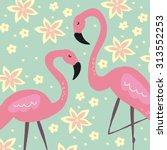flamingo pattern   Shutterstock .eps vector #313552253