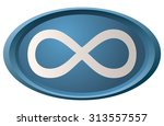 infinity sign on oval blue...