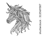 drawing unicorn zentangle style ... | Shutterstock .eps vector #313569587
