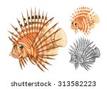 high quality lion fish cartoon... | Shutterstock .eps vector #313582223