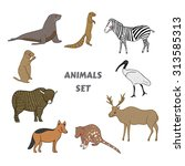 cartoon cute animals vector set.... | Shutterstock .eps vector #313585313