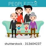 family group portrait parents... | Shutterstock .eps vector #313604237