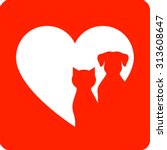 Stock vector red veterinary sign with pet silhouette and heart 313608647