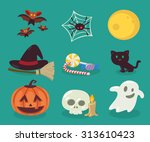 vector illustration. halloween... | Shutterstock .eps vector #313610423