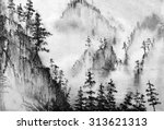 Mountains And Pine Trees In Th...