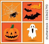 halloween night party vector... | Shutterstock .eps vector #313621793