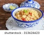 bowl of egg fried rice on... | Shutterstock . vector #313626623