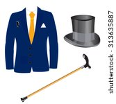 suit and hat with walking stick ...   Shutterstock .eps vector #313635887