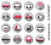 transportation flat icon set... | Shutterstock .eps vector #313638887