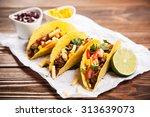 mexican food   delicious tacos... | Shutterstock . vector #313639073