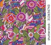 hand drawn bright beautiful... | Shutterstock .eps vector #313656743