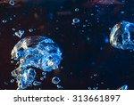 dark  wave with bubbles | Shutterstock . vector #313661897