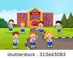 happy school children in front... | Shutterstock .eps vector #313665083