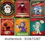 vintage halloween character... | Shutterstock .eps vector #313671287