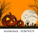 3d rendered halloween pumpkin... | Shutterstock . vector #313674173