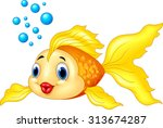Gold Fish With Bubbles Isolate...