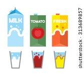 set drinks in package. milk ... | Shutterstock .eps vector #313689857