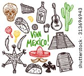 Mexico Doodle Icons Set With...