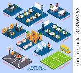 Isometric School Interior With...