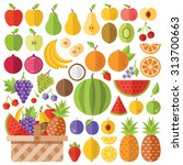 flat fruits icons set. colorful ... | Shutterstock .eps vector #313700663