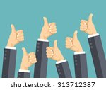 many thumbs up. social network... | Shutterstock .eps vector #313712387