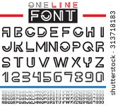 one line font. alphabet and... | Shutterstock .eps vector #313718183