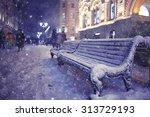 Bench Winter Street City...