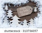 brown christmas label with... | Shutterstock . vector #313736057