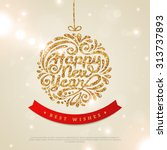 merry christmas and happy new... | Shutterstock .eps vector #313737893
