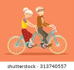 Grandparents On Bicycle. Vecto...