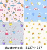 set of 4 seamless cartoon... | Shutterstock .eps vector #313744367
