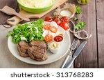 beef steak with salad ... | Shutterstock . vector #313768283