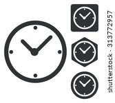 clock icon set  monochrome ...