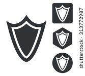 shield icon set  monochrome ...