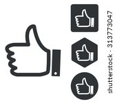 thumbs up icon set  monochrome  ...