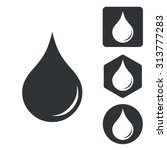 water drop icon set  monochrome ...