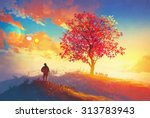 autumn landscape with alone... | Shutterstock . vector #313783943