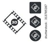3d movie icon set  monochrome ...