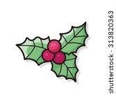 poinsettia doodle | Shutterstock .eps vector #313820363