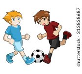 kids playing soccer   Shutterstock .eps vector #313838687