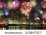 celebratory fireworks at coast... | Shutterstock . vector #313847327