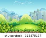 nature scene with buildings in... | Shutterstock .eps vector #313875137